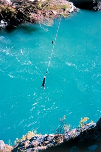 Clem making a bungee jump at the Kawarau Bridge near Queenstown.