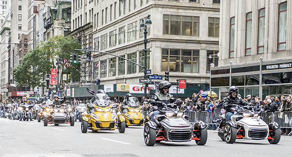 Can-Am provided Spyders for the Road Warrior Foundation to ride in the America's Day Parade.