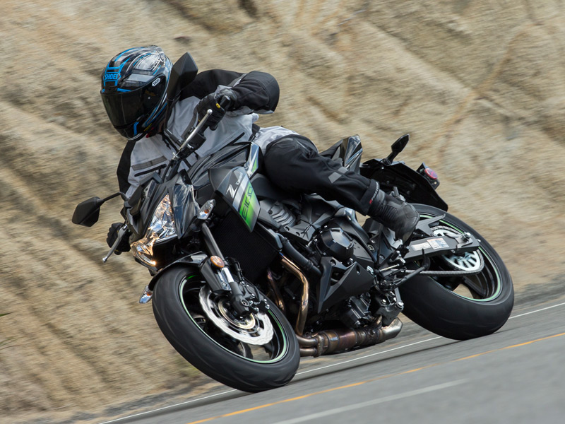 Kawasaki's new-to-the-U.S. Z800 ABS is powered by a liquid-cooled 806cc in-line four that delivers smooth, frisky power.